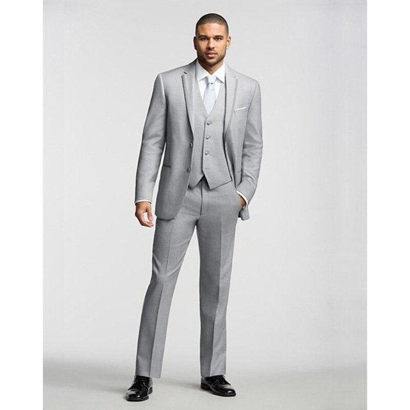 Mens Suits Light Gray Slim Fit Custom Made Side Vent Best Men Suit Wedding Bridegroom Groomsmen Tuxedo( Jacket+Pants+vest+tie)