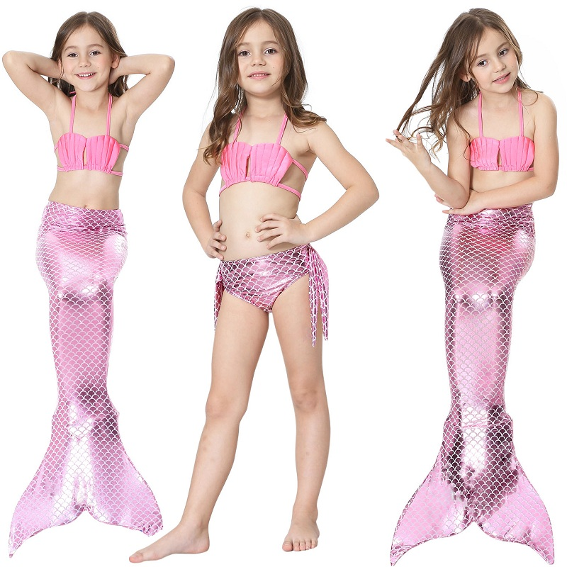 2019 Fashion Kids Girls Mermaid Tails with Fin Swimsuit Bikini Bathing Suit Dress for Girls With Flipper Monofin For Swim