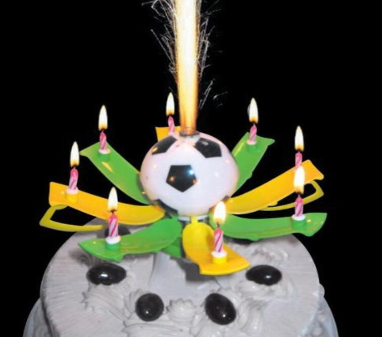 Musical Rotating Spin Football Soccer Birthday Celebration Candles Cake Topper Happy With 8 Candle Lights Favor In Decorating Supplies
