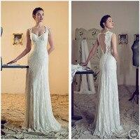 Hot Sale Wedding Dresses 2015 Sheath Sweetheart Vestido De Noiva Lace Crystal Floor Length Chapel Train