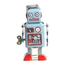 Vintage Mechanical Clockwork Wind Up Walking Robot Tin Toy Kids Gift Collection