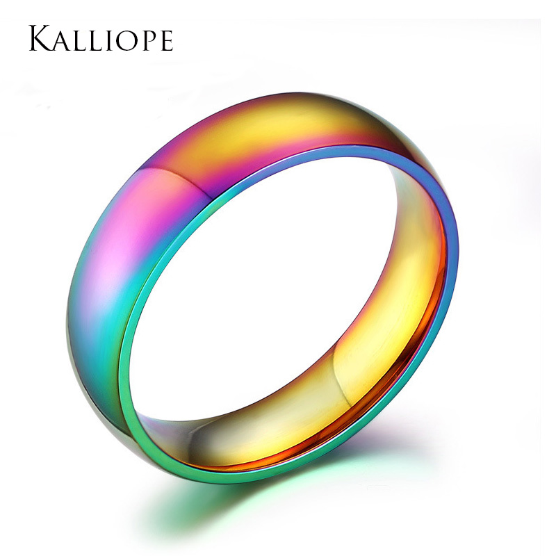 2019 Colorful <font><b>ring</b></font> exquisite stainless steel jewelry Rainbow bijoux for men Lesbian gay <font><b>bisexual</b></font> trans image