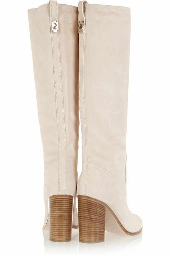 Nuevo estilo grueso tacones altos Roma Otoño Invierno Botas Beige gamuza mujeres Botas deslizamiento en media rodilla Botas altas zapatos Mujer Botas Mujer