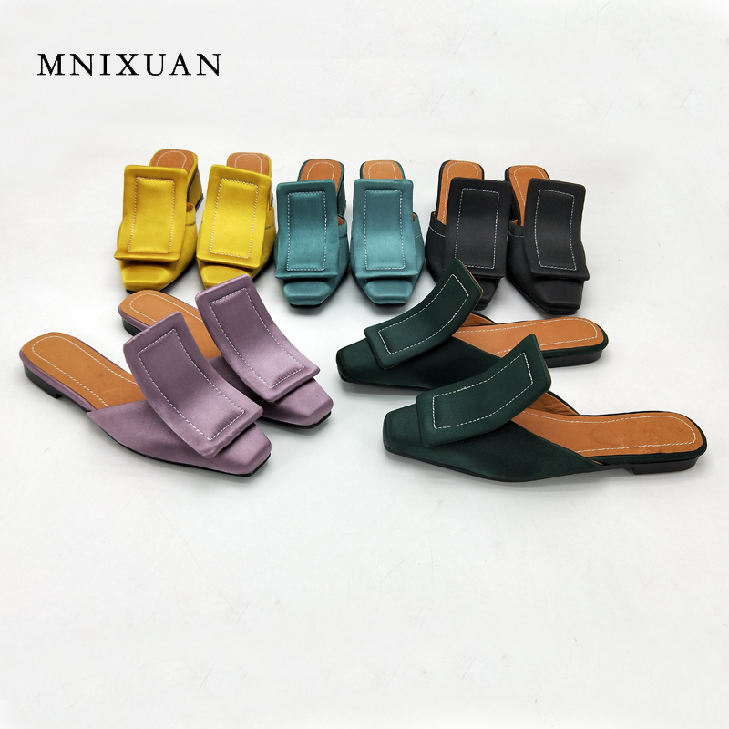 MNIXUAN mules women flats shoe sandals 2018 summer new fashion europe casual square toe 1cm height balck slides big size 34-43 mnixuan women slippers sandals summer