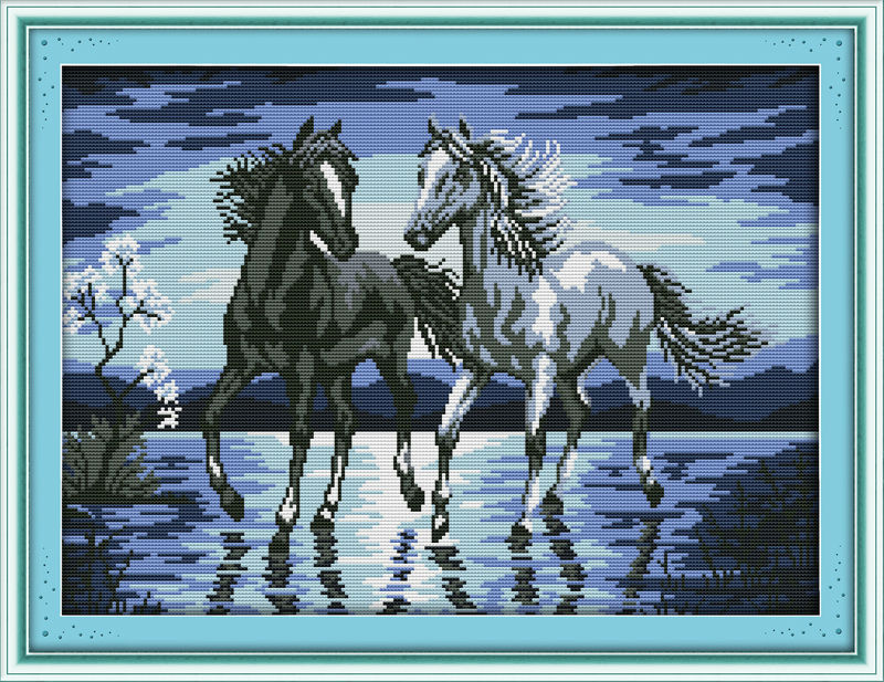 Cross-stitch Bright A Galloping Horse Decor Picture Counted Print On Canvas Dmc 14ct 11ct Cross Stitch Diy Chinese Embroidery Kits Needlework Se Package