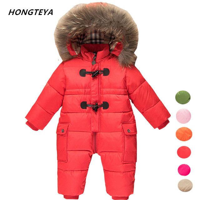 children winter Jumpsuit duck down baby Rompers fur infant girls boys Overalls hooded kids snowsuits warm baby clothes jacket стоимость