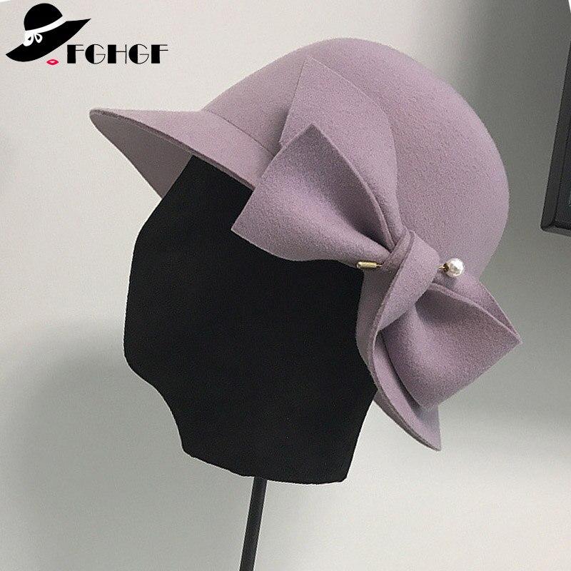 FGHGF Elegant Formal Women Wool Felt Hat Winter Fedoras Cloche Bowler Hat with Bow Ladies Derby Church Wedding Hat 2018 Hat Cap