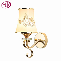 Hotel Rooms Wrought Iron Wall Lamp Modern Indoor Corridor Lighting Frosted Glass Lampshade Wall Light High