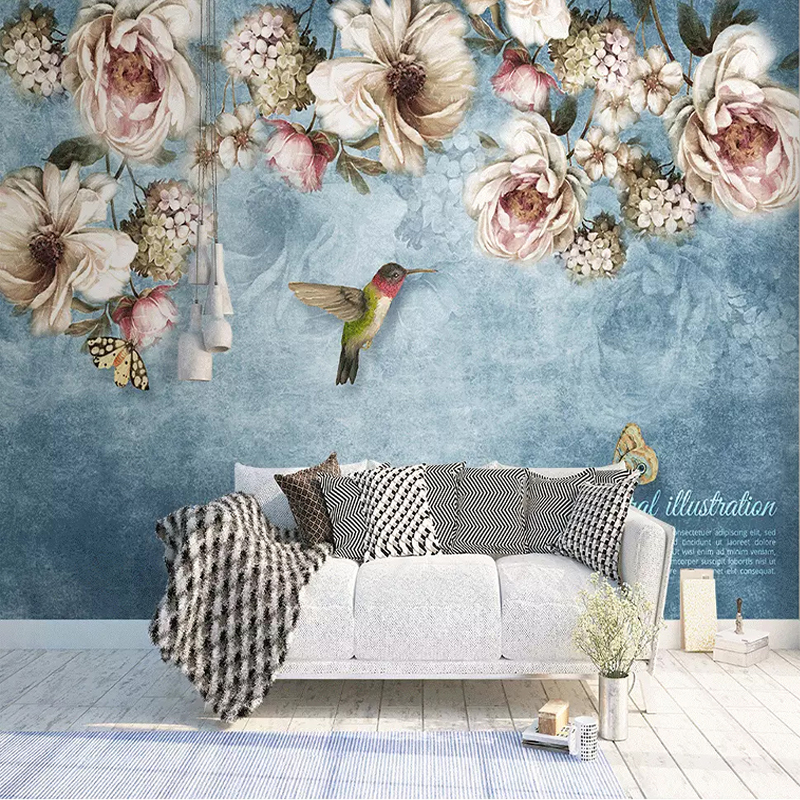 Custom Any Size Mural Wallpaper 3D Hand-painted Oil Painting Rose Vine Fresco Living Room Bedroom Self-Adhesive 3D Wall Stickers