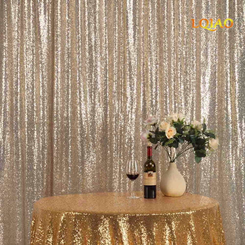 9FT*9FT Light Gold Shimmer Sequin Fabric Backdrop Sequin Curtains Wedding Photo Booth Photography Backdrops for Party Decoration