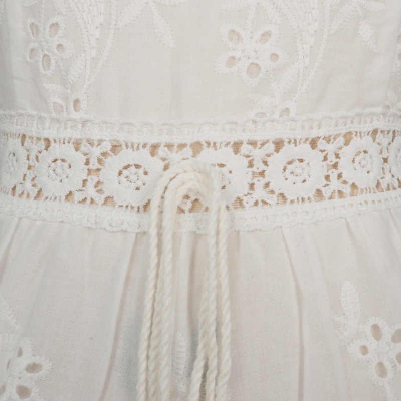 Женский короткий цветочный комбинезон yinlinhe, белый комбинезон с вышивкой на бретельках-завязках, летняя одежда в стиле Бохо, модель 599