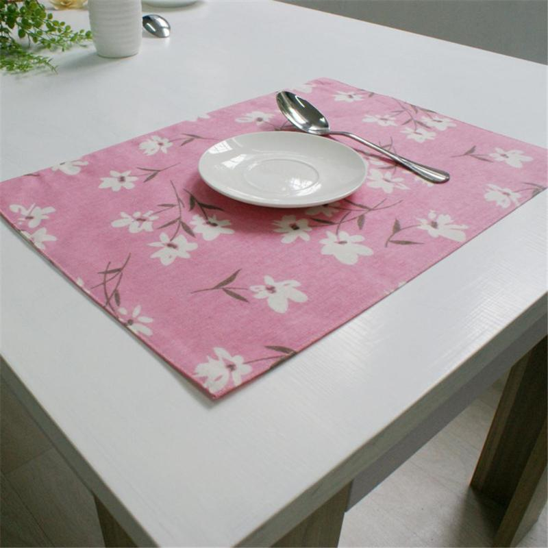 Flower Print 32x45cm Cotton Place Mats Dinner Table Heat Resistant Non Slip Proof Table Mats Bowl Plate Flower Pads Coaster Mats & Pads