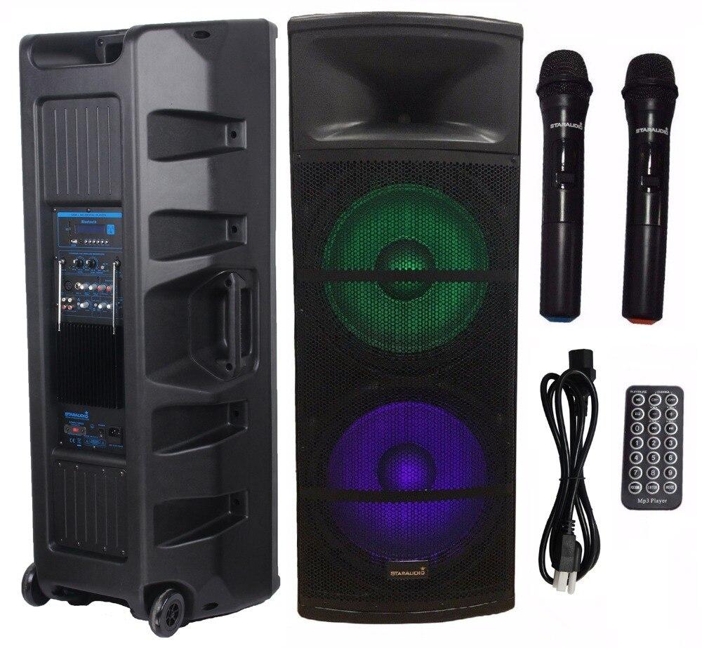 STARAUDIO 5000 W alimenté 15 pouces PA DJ stade actif BT FM haut-parleur RGB lumière haut-parleur 2CH sans fil à main Microphone SDMN-15RGB