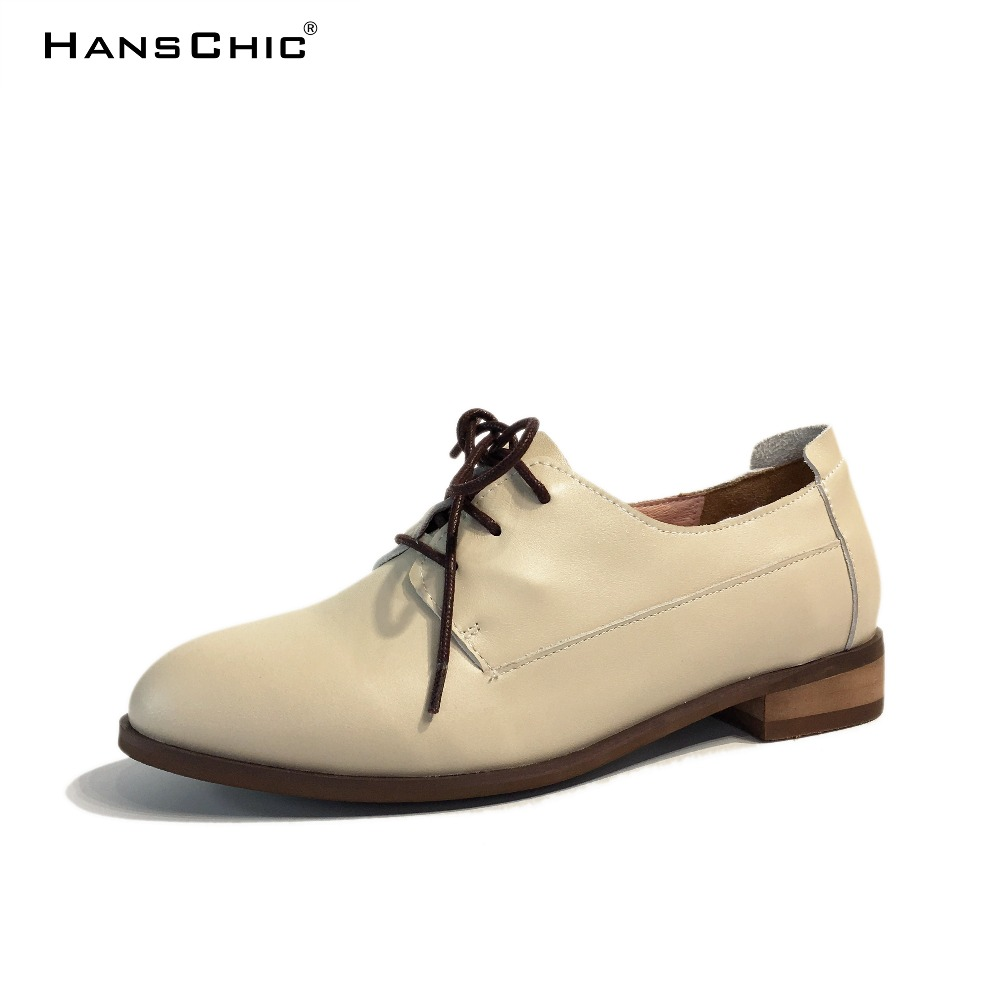 HANSCHIC 2017 New Arrival Grey Retro Ladies Womens Real Leather Cow Casual Pump Shoes for Female D-6011