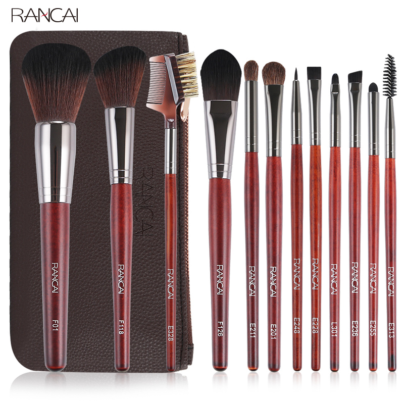 RANCAI 12pcs Makeup Brushes Set Powder Foundation Blusher Lip Eyeliner Eyelash Eyeshadow Eyebrow Brush&Comb Cosmetic Beauty Kit miss gorgeous makeup brushes set powder foundation steel eyelashes comb combination brush eye shadow eyelash eyeliner eyebrow
