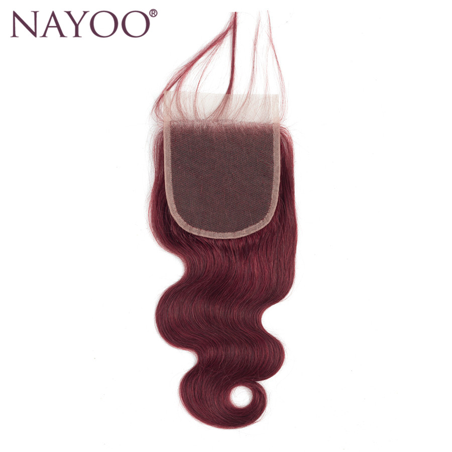 NAYOO 1 PC Brazilian Body Wave Hair Swiss Lace Closure Color 99J Middle/Free/Three Part 4*4 Lace 100% Remy Human Hair No Tangle