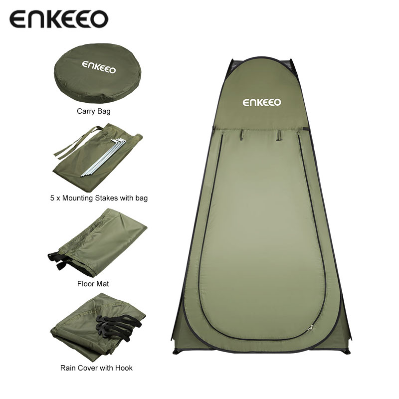 Enkeeo Portable Outdoor Pop Up Tent Camping Shower Bathroom Privacy Toilet Changing Room Shelter Single Moving Folding Tents portable shower tent outdoor waterproof tourist tents single beach fishing tent folding awning camping toilet changing room