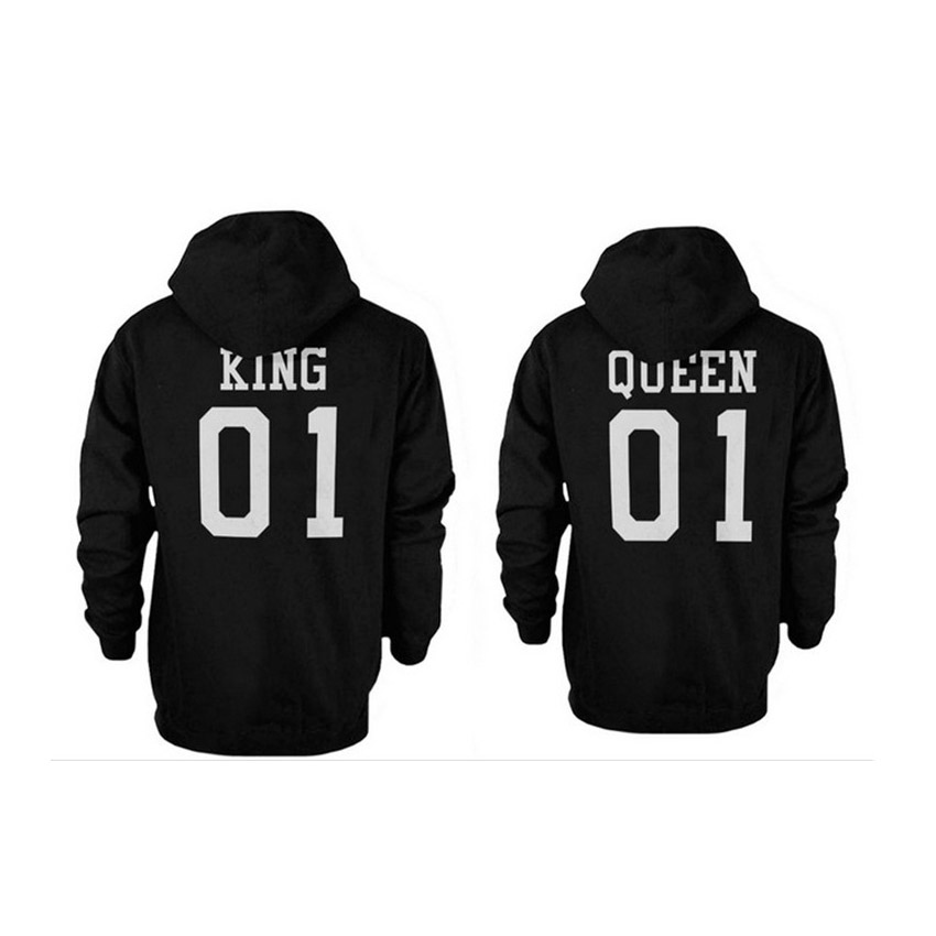 Adult Hoodies King & Queen Couple Black Sweatshirts Velvet Tops With Cap Women Tracks suits Lover Solid Winter Warms Sweats