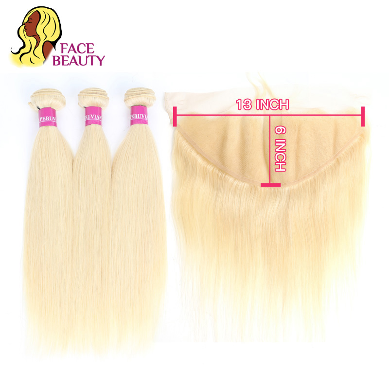 Facebeauty Peruvian Blonde Color Hair Weft 2 3 4 Bundle with 13x6 Ear to Ear Lace