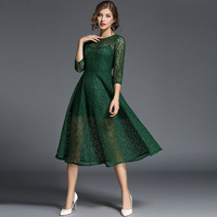 2017 Summer And Autumn With A Big Pendulum And Lace Elegant Temperament Self Cultivation Sexy Dress