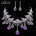 Romantic Purple Crystal Rhodium Plated Women Accessories Rhinestone Jewelry Bijous Promotion Lovely African Costume Jewelry Sets