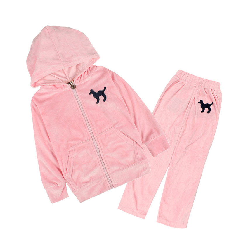 Mudkingdom Girls Boys Velvet Clothing Set Kids Baby Girl Pink Clothes Casual Sports Outfit Hooded Coats & Pants Clothing Sets