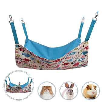 Cat Hammocks Bed Use with Cage or Chair, Reversible 2 Sides Small Pet Hammock for Kitten, Ferret,Bunny, Rabbit, Rat Hammock