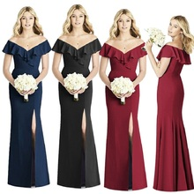 summer clothing new arrival 2019 Solid Color long dress for wedding party luxury formal bodycon dresses plus size woman elegant new arrival 2019 formal dress elegant summer long dress for wedding party for woman plus size bodycon off shoulder maxi dresses