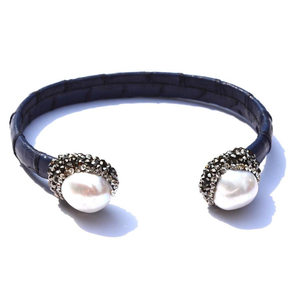 Fashion Women Luxury Cuff Bracelet Blue Leather White Pearl Rhinestone  Snakeskin Bangle Bracelets(china (