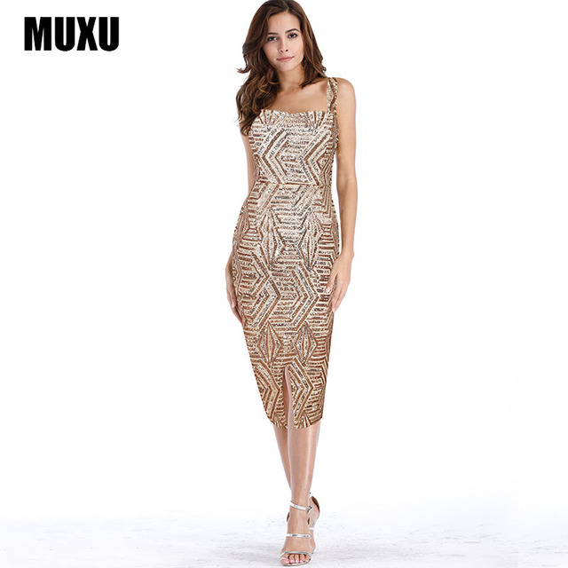 MUXU sexy summer womens clothing party dress sequin gold glitter bodycon dresses  club plus size backless c172966ea67e