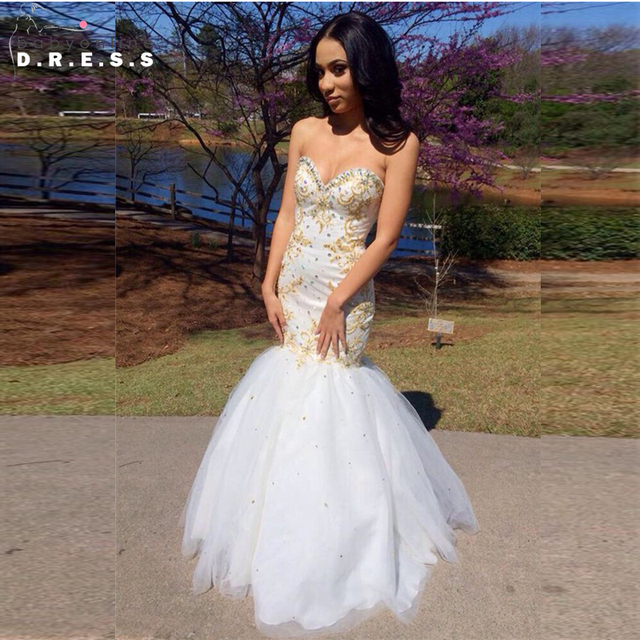 911e792205e2 Sweetheart White Mermaid Prom Dresses 2017 Beaded Gold Appliques Black  African Evening Prom Gowns Vestido De Formatura