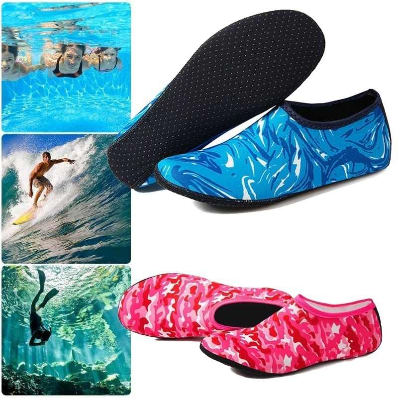Yüzme su Aqua ayakkabı erkekler kadınlar plaj ayakkabısı Unisex Aqua Flats yumuşak yürüyüş dalış ayakkabı kaymaz çorap Sneakers deniz terlik