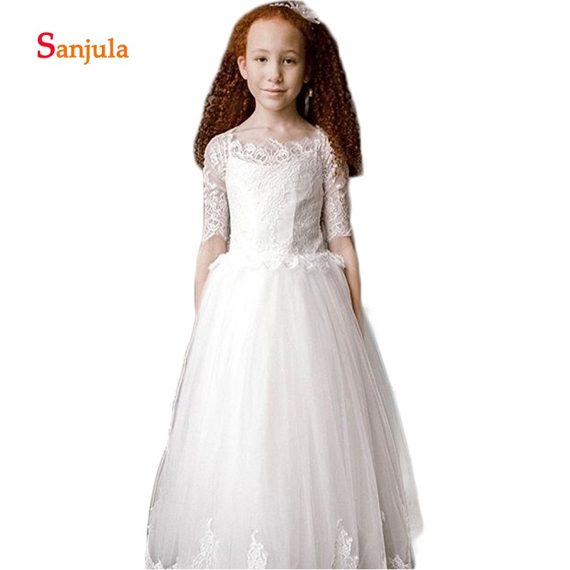 Half Sleeve   Flower     Girls     Dresses   A-Line Scoop Lace Wedding Party   Dress   for Child Communion Gowns robe mariage petite fille D428