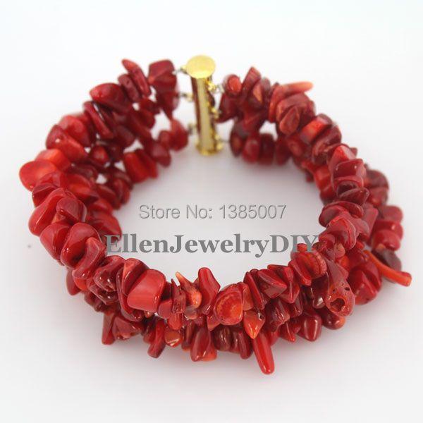 Moda 3 Filas de Coral Rojo Pulsera de Nigeria Coral Perlas Pulsera Declaración Pulsera de Dama de honor Regalo Joyería Nupcial Africana