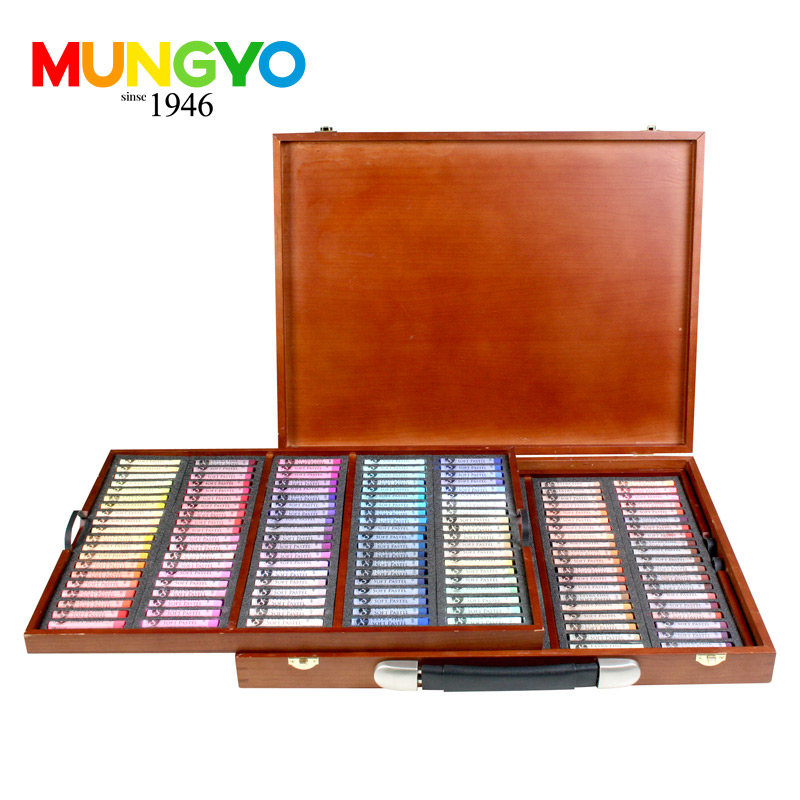 MUNGYO Stationery set soft pastel stick stick exquisite wooden box for children to learn professional 200 color painting brush mungyo stationery set 12 24 48 color art solid watercolor painting pigment write iron box packaging