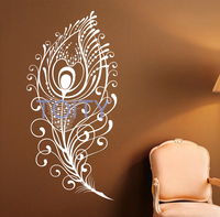 Peacock Feather Wall Decal Vinyl Stickers Bird Plumage Patterns Home Interior Design Art Murals Bedroom Wall