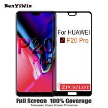 2 ADET 100% Orijinal Tam Kapak Ekran Koruyucu 9 H Koruyucu Cam için Huawei P20 Pro Temperli Cam Durumda CLT İçİn AL01 Film