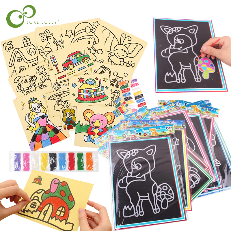 20Pcs/10Pcs Magic Scratch Art Doodle Pad Sand Painting Cards Early Educational Learning Creative Drawing Toys for Children GYH 1