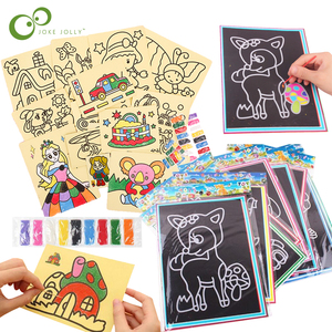20Pcs/10Pcs Magic Scratch Art Doodle Pad Sand Painting Cards Early Educational Learning Creative Drawing Toys for Children GYH