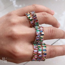 Multicolor Baguette T Ring Engagement Handmade Rainbow Trapezoid Stone