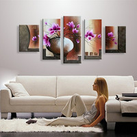 Hand Painted Vase Flower Oil Painting Modern Abstract Home Decor Large Purple Floral Paintings 5 Panel