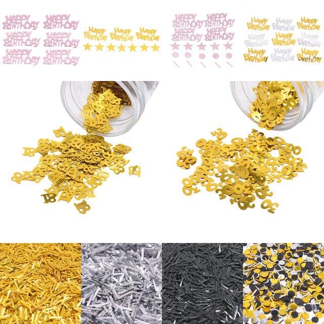 15g Glitter Rose Gold Silver Happy Birthday Number 18 30 40 50 60 Sprinkle Confetti Wedding Ceremony Birthday Party Anniversary