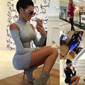 Dresses With Open Shoulders Womens Casual Long Sleeve Round Neck Short Mini Shoulder Leaked Dress