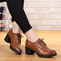 Woman shoes autumn 2017 Genuine Leather deep mouth singles shoes with cowhide lace banquet big size # 35-43, free shipping