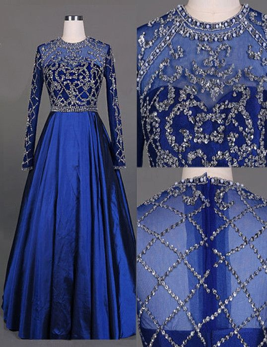 7bb973c68c4e3b 2017 Royal Blue A-line Taffeta Prom Dresses With Long Sleeves Sheer Back  Fully Beaded Crystals Floor Length Teens Formal Gowns