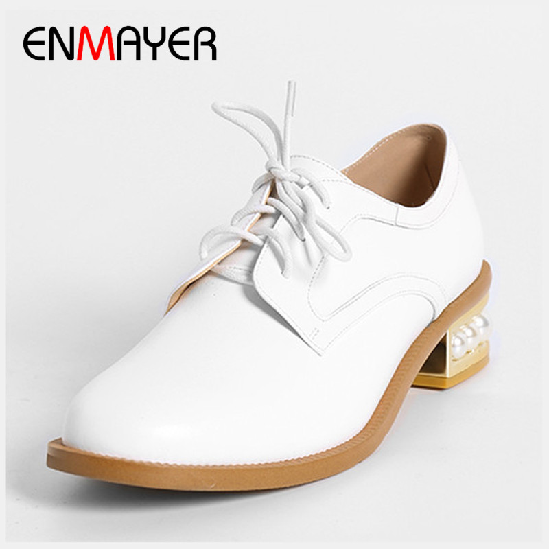 ФОТО ENMAYER 2017 Womens Pumps Black White Fashion Shoes Spring Autumn Round Toe Lesiure Lace-up Geunine Leather Woman Square Heel