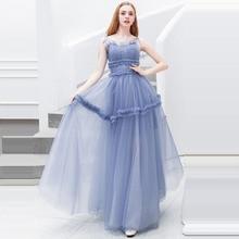 Prom Dress Sexy Boat Neck Women Party Night Dresses 2019 Long Plus Size Ruffle Vestidos De Gala Sling Sleeveless Gowns E630