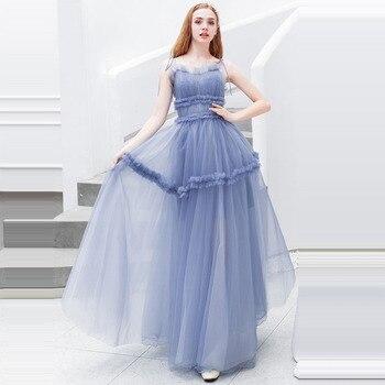 Prom Dress Sexy Boat Neck Women Party Night Dresses 2019 Long Plus Size Ruffle Vestidos De Gala Sling Sleeveless Prom Gowns E630