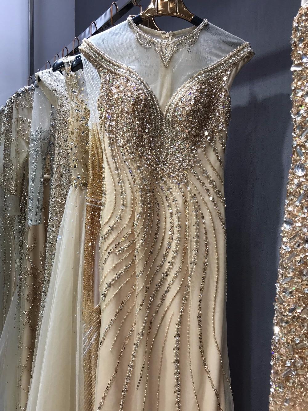 Gold Evening Dresses Walk Beside You Mermaid Beaded Crystal Sleeveless Sukienka Wieczorowa Vestidos Formales Royal Prom Gown