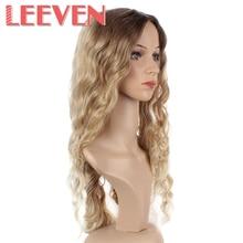 Leeven 26 นิ้ว Natural Wave สังเคราะห์ไม่มีลูกไม้ด้านหน้า Wigs สีบลอนด์สำหรับผู้หญิงเส้นใยอุณหภูมิสูง Cosplay ผมวิกผม